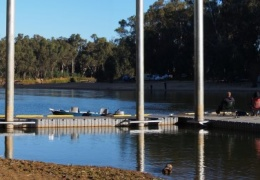 Boat ramp and pier on the Murray River Tocumwal