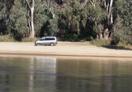 Delica driving on one of Tocumwal beaches